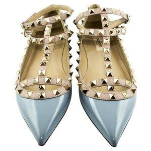 Valentino Rockstud Ballerina Shoes Light Blue